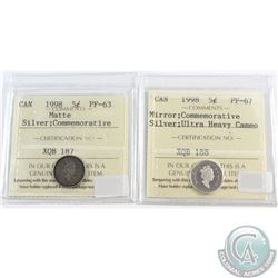1908-1998 Canada 5-cents Silver Commemoratives ICCS Certified; Matte Version ICCS PF-63 & Mirror Ver