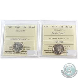 1946 & 1947 Maple Leaf Canada 10-cent ICCS Certified MS-63. 2pcs