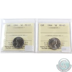 1961 & 1964 Canada 5-cent ICCS Certified MS-65. 2pcs