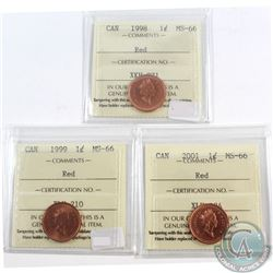 1998, 1999 & 2001 Canada 1-cent ICCS Certified MS-66 Red. 3pcs