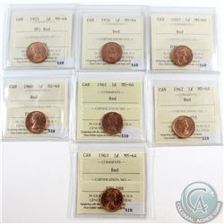 1955 SF, 1956, 1957, 1960, 1961, 1962 & 1963 Canada 1-cent ICCS Certified MS-64 Red. 7pcs