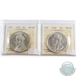 1935 & 1936 Canada Silver $1 ICCS Certified MS-60. 2pcs