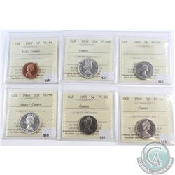 Lot of 6x Canada 1-cent, 5-cent & 25-cent ICCS Certified PL-64. You will receive 1967 1-cent Cameo,