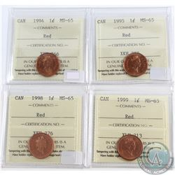 1994, 1995, 1998 & 1999 Canada 1-cent ICCS Certified MS-65 Red. 4pcs