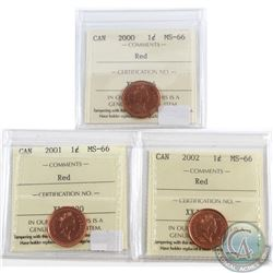 Lot of 3x 2000-2002 Canada 1-cent ICCS Certified MS-66. 3pcs