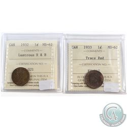 1933 Lustrous R&B & 1933 Trace Red Canada 1-cent ICCS Certified MS-62. 2pcs