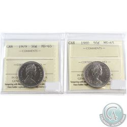 1979 & 1980 Canada 50-cent ICCS Certified MS-65. 2pcs