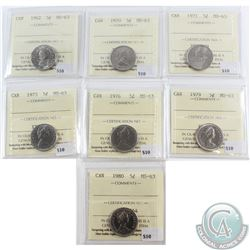 1962, 1970, 1971, 1973, 1976, 1979 & 1980 Canada 5-cent ICCS Certified MS-63. 7pcs
