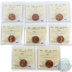 Lot of 8x Canada 1-cent ICCS Certified MS-64 Dated 1955 SF, 1956, 1957, 1959, 1960, 1962, 1967 & 197