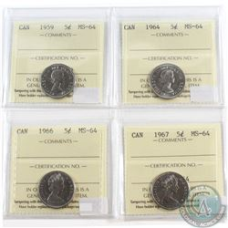 Lot of 4x Canada 5-cent ICCS Certified MS-64 Dated 1959, 1964, 1966 & 1967. 4pcs