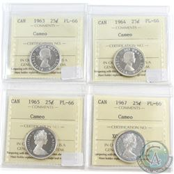 Lot of 4x Canada 25-cent ICCS Certified PL-66 Cameo Dated 1963, 1964, 1965 & 1967. 4pcs