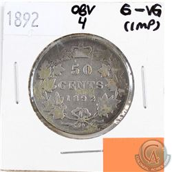 1892 Canada 50-cents Obverse 4 G-VG (impaired, view image)