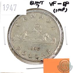 1947 Canada Silver $1 Blunt 7 VF-EF (impaired, view image)