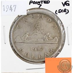 1947 Canada Silver $1 Pointed 7 VG (Scratched)