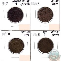 Lot of 4x Canada 1-cent VF-EF Dated 1859 Narrow 9, 1876H, 1881H & 1882H Obverse 2 (coins have minor