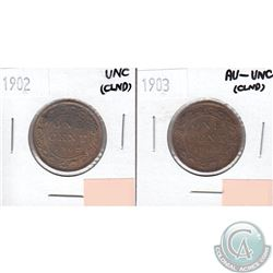 1902 Canada 1-cent UNC (lightly cleaned) & 1903 1-cent AU-55 (lightly cleaned). 2pcs