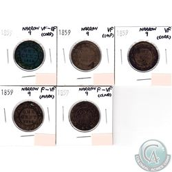 Lot of 5x 1859 Canada 1-cent Narrow 9. You will receive VF-EF, 2x VF & 2x F-VF (coins have minor imp