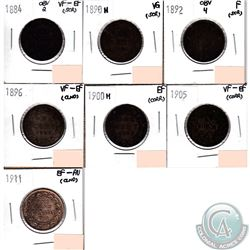 Lot of 7x Canada 1-cent Dated 1884 Obverse 2, 1890H, 1892 Obverse 4, 1896, 1900H, 1905 & 1911 in VG