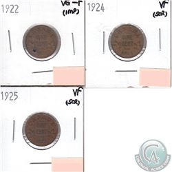 Lot of 3x Canada 1-cent Dated 1922, 1924 & 1925 in VG-F to VF (coins have minor impairments, view im