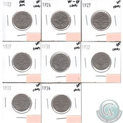 Lot of 8x Canada 5-cents Dated 1922 Far Rim, 1924, 1927, 1929, 1931, 1932, 1933 & 1934 in VF or VF-E