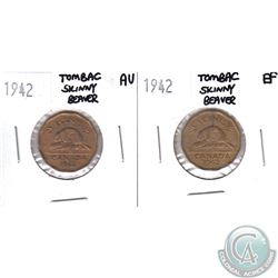 Lot of 2x 1942 Canada 5-cents Tombac Skinny Beaver in EF & AU-50. 2pcs