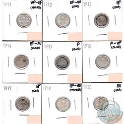 Lot of 9x Canada 5-cents Dated 1911-1917, 1919 & 1920 in Fine to AU (coins have minor impairments, v