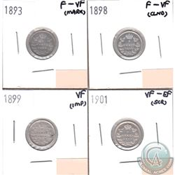Lot of 4x Canada 5-cents Dated 1893, 1898, 1899 & 1901 in F-VF to VF-EF (coins have minor impairment