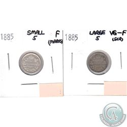 1885 Canada 5-cents Large 5 VG-F (Scratched) & 1885 5-cents Small 5 Fine (Marks). 2pcs