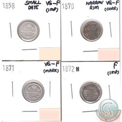 Lot of 4x Canada 5-cents Dated 1858 Small Date, 1870 Narrow Rim, 1871 & 1872H in VG-F or Fine (coins