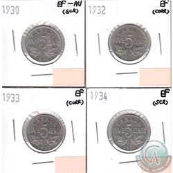 Lot of 4x Canada 5-cents Dated 1930, 1932, 1933 & 1934 in EF or EF-AU (coins have minor impairments,