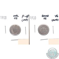 1900 Canada 5-cents Round 0s VG (lightly cleaned) & 1900 Oval 0s F-VF (impaired, view image). 2pcs