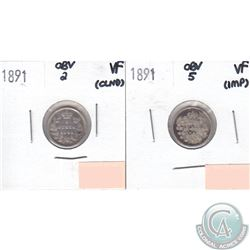 1891 Canada 5-cents Obverse 2 VF (lightly cleaned) & 1891 5-cents Obverse 5 VF (impaired, view image