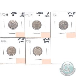 Lot of 5x Canada 5-cents Dated 1902H Large H, 1903H Large H, 1904, 1905 & 1907 in Fine to AU (coins