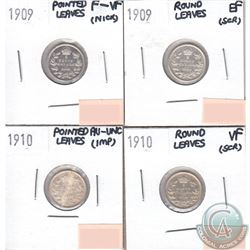 Lot of 4x Canada 5-cents Dated 1909 Pointed Leaves, 1909 Round Leaves, 1910 Pointed Leaves & 1910 Ro
