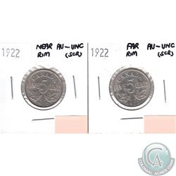 Lot of 2x 1922 Canada 5-cents AU-UNC (Scratched) - Far Rim & Near Rim. 2pcs