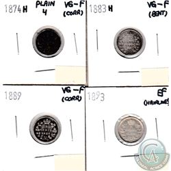 1874H Plain 4, 1883H, 1889 & 1893 Canada 5-cents VG-F to EF (coins have minor impairments, view imag