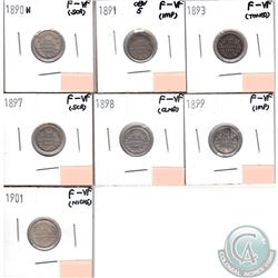 Lot of 7x Canada 5-cents F-VF; 1890H, 1891 Obverse 5, 1893, 1897, 1898, 1899 & 1901 (coins have mino