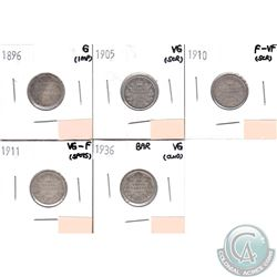 Lot of 5x Canada 5-cent; 1896, 1905, 1910, 1911 & 1936 Bar in Good to F-VF (coins have minor impairm