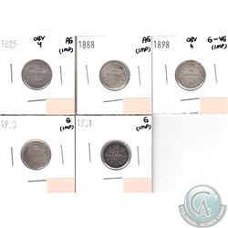 Lot of 5x Canada 10-cent; 1885 Obverse 4, 1888, 1898 Obverse 6, 1900 & 1901 in AG to G-VG (coins hav
