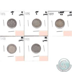 Lot of 5x Canada 10-cent; 1894 Obverse 5, 1896 Obverse 6, 1899 Large 9's, 1900 & 1901 in AG or Good