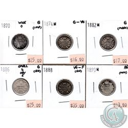 Canada 10-cent; 1870 Wide 0, 1874H, 1882H, 1886 Small 6 Obverse 5, 1888 & 1890H in AG to VG-F (coins