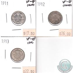 Canada 10-cents VF-EF; 1911, 1912, 1913 (coins have minor impairments, view image). 3pcs