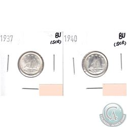 1937 & 1940 Canada 10-cents Brilliant Uncirculated (MS-62 to MS-64) Condition (Scratched). 2pcs