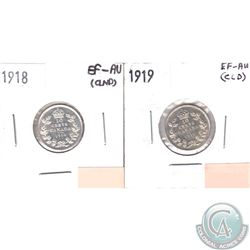 1918 & 1919 Canada 10-cents EF-AU (lightly cleaned). 2pcs