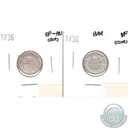1936 Canada 10-cents Bar VF (lightly cleaned) & 1936 10-cents EF-AU (Scratched). 2pcs