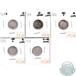 Canada 10-cent; 1882H, 1891 22 Leaves, 1892 Obverse 5, 1898 Obverse 6 & 1900 in AG to G-VG (coins ha