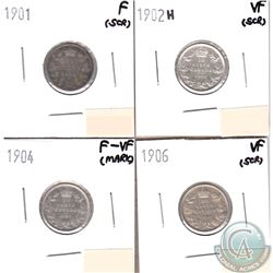 Canada 10-cents 1901, 1902H, 1904 & 1906 in Fine to VF (coins have minor impairments, view image). 4
