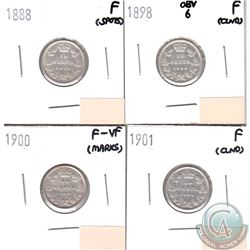 Canada 10-cents 1888, 1898 Obverse 6, 1900 & 1901 in Fine or F-VF (coins have minor impairments, vie