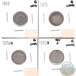Canada 10-cents G-4; 1858, 1871, 1874H & 1880H Obverse 2 (coins have minor impairments, view image).