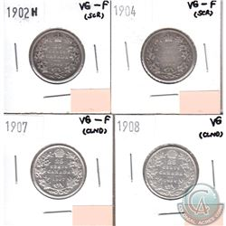 Canada 25-cents 1902H, 1904, 1907 & 1908 in VG to VG-F (coins have minor impairments, view image). 4